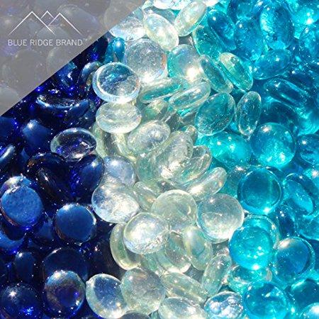 Fire Pit Glass - Aqua, Dark Blue Blend Reflective Fire Glass Beads 3/4