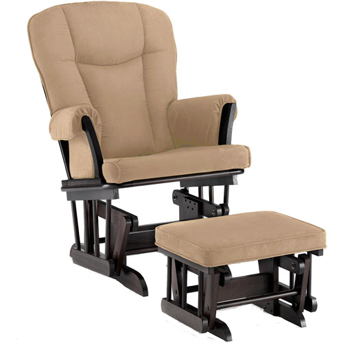 Shermag Stanton Transitional Style Glider Rocker and Ottoman, Chocolate Pearl Beige