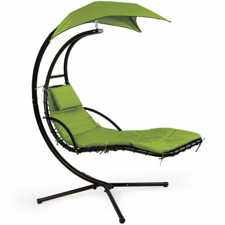 Outdoor Teak Patio Sun Lounger - XtremepowerUS Patio Swing Chair Lounger Hammock Sun Canopy, Green