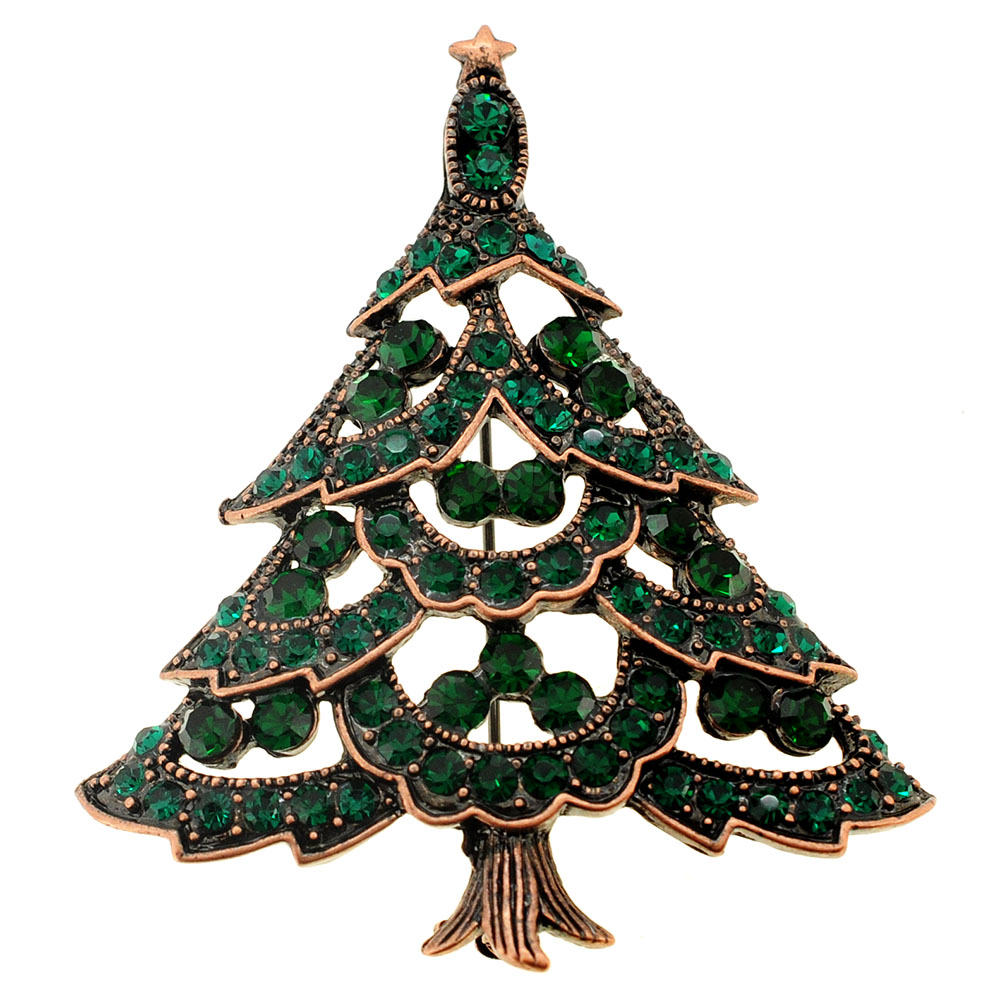 Emerald Green Cutout Christmas Tree Crystal Pin Brooch by