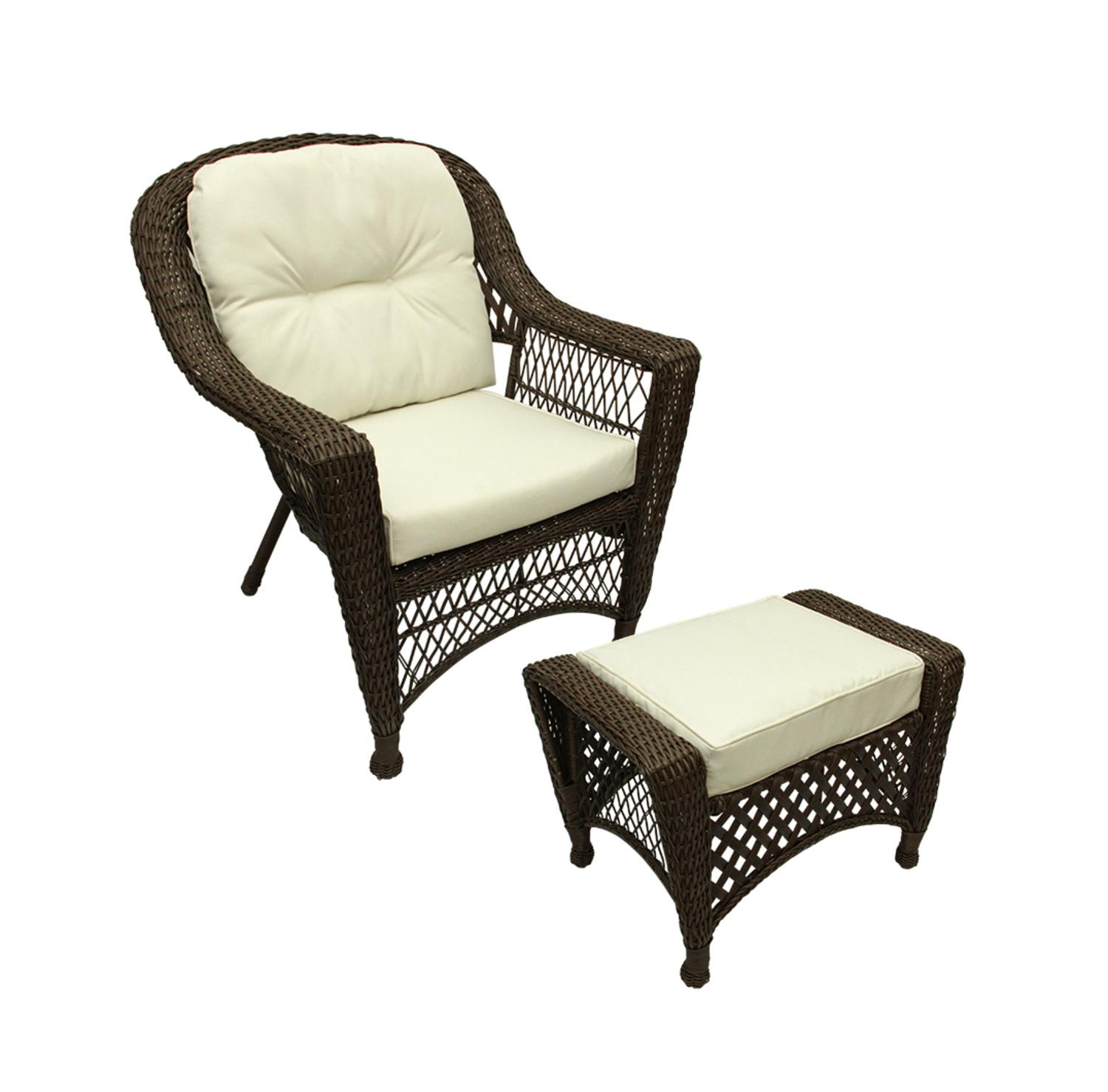 2 Pc Somerset Dark Brown Resin Wicker Patio Chair Ottoman Furniture Set Cream Cushions