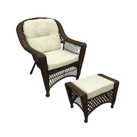 2 Pc Somerset Dark Brown Resin Wicker Patio Chair Ottoman Furniture Set Cream Cushions