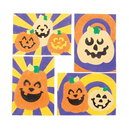 Fun Express - Jack O Lantern Sand Art Sheets for Halloween - Craft Supplies - Sand Art - Sheets - Halloween - 24 Pieces - Art And Craft For Halloween