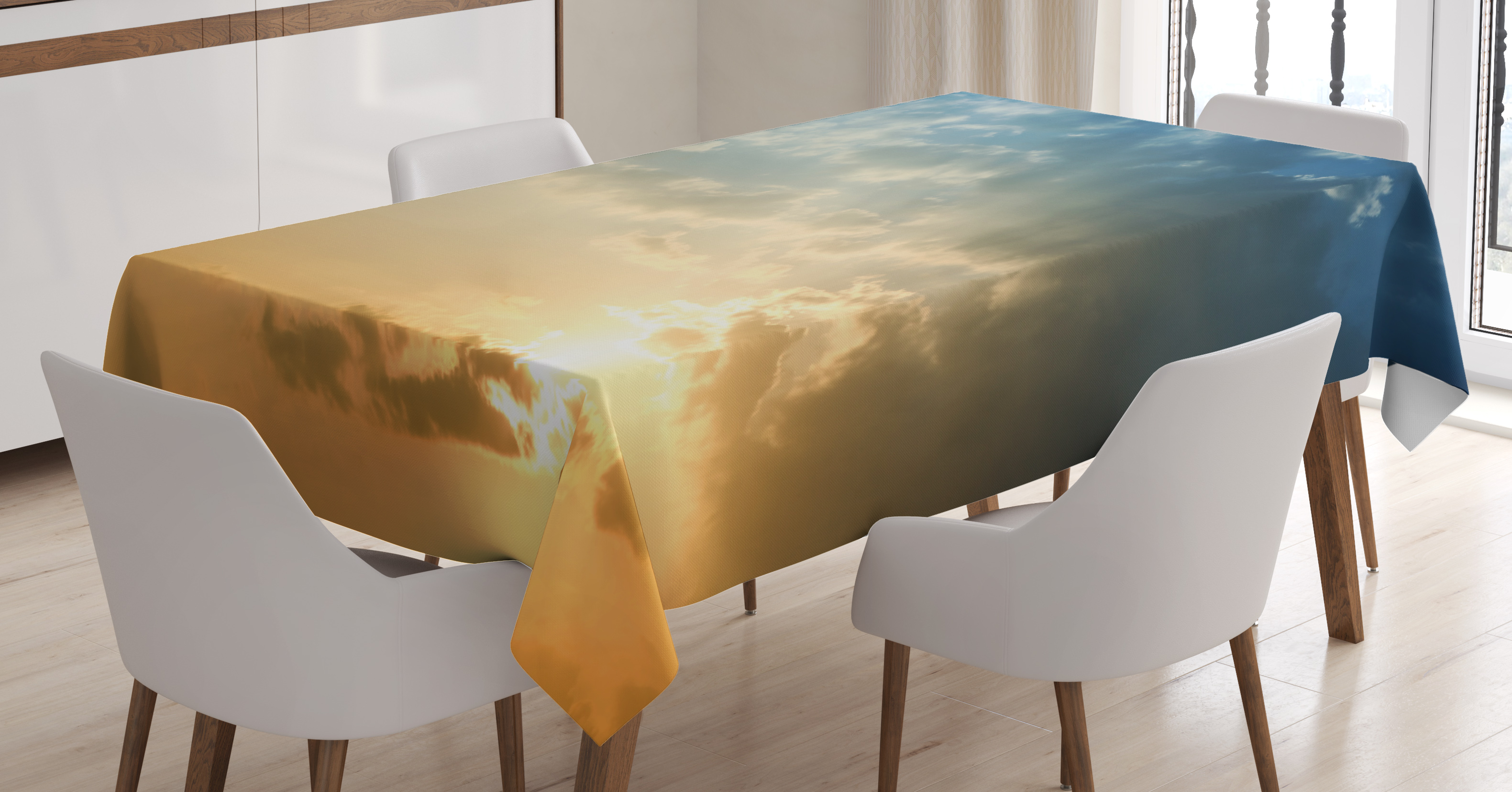 Yellow And Blue Tablecloth, Sky With Sun Rays Dusk Clouds Mystic Summer Air  Tranquil Landscape