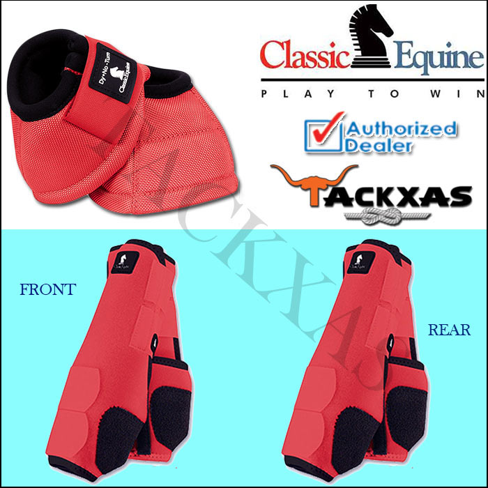 CORAL CLASSIC EQUINE FRONT REAR LEGACY SPORTS HORSE NO TURN BELL BOOTS by CLASSIC EQUINE