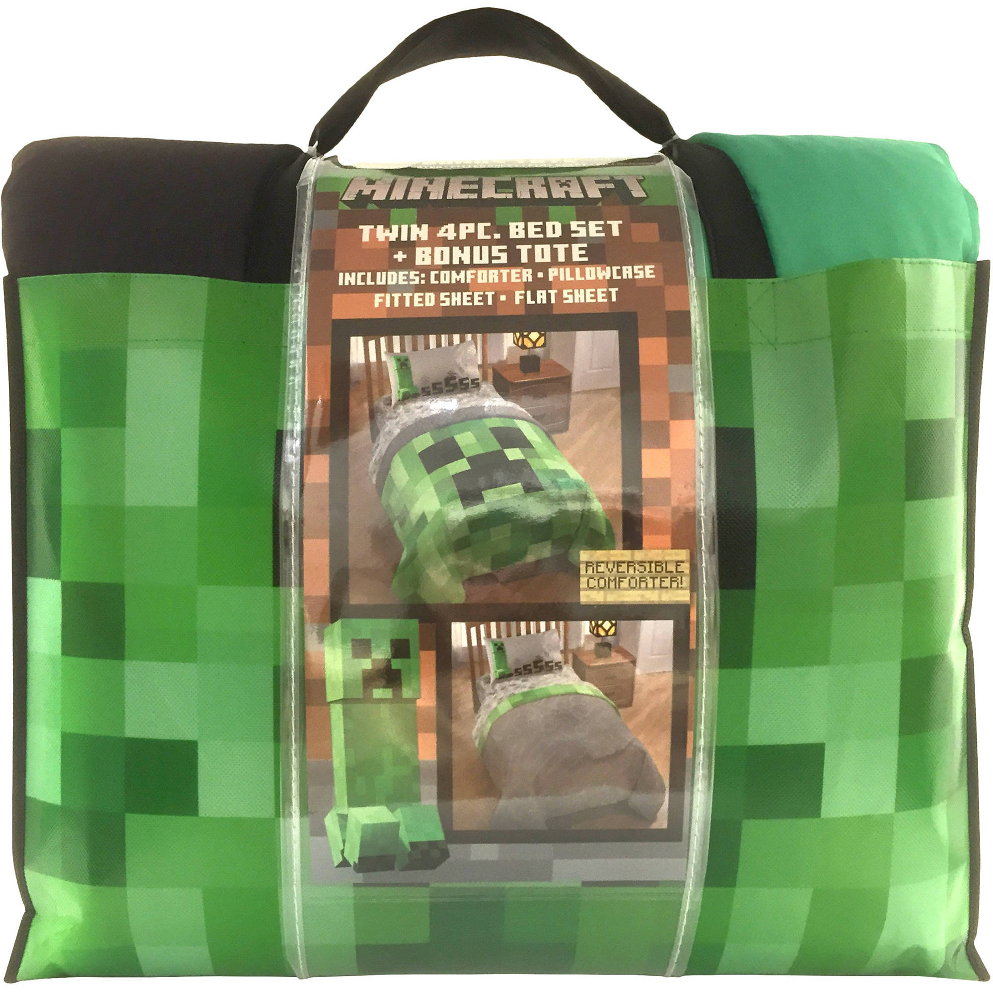 minecraft bedding bed-in-a-bag with bonus tote - walmart