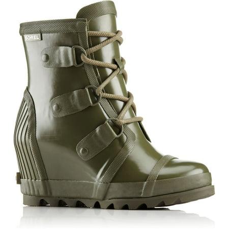 SOREL Women's Joan Rain Wedge Gloss Boot, Nori/Zest, 8 B(M)