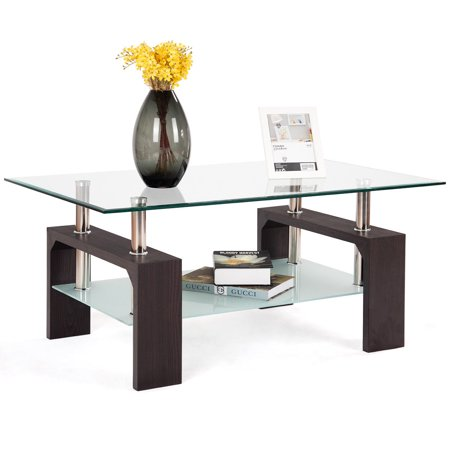 Dining Room Traditional Coffee Table - Costway Rectangular Tempered Glass Coffee Table w/Shelf Wood Living Room Furniture