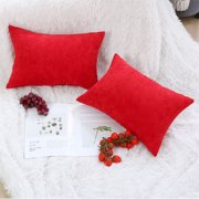 """Piccocasa Soft Polyester 2 Piece Decorative Cushion Cover (12""""x18"""",Red"""