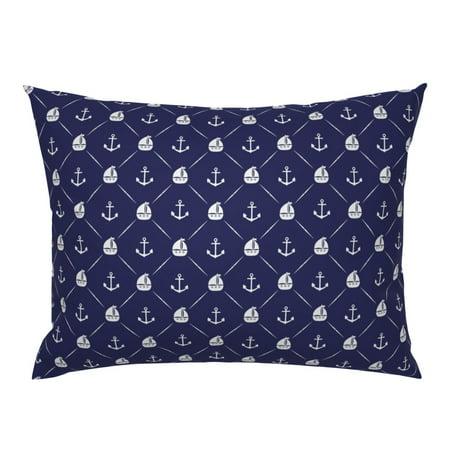 Navy Blue Nautical Retro Nautica Sailboats Sailing Pillow Sham by Roostery Nautica Blue European Sham