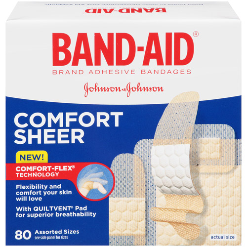 Band-Aid Brand Sheer Strips Adhesive Bandages, Assorted Sizes, 80 Count