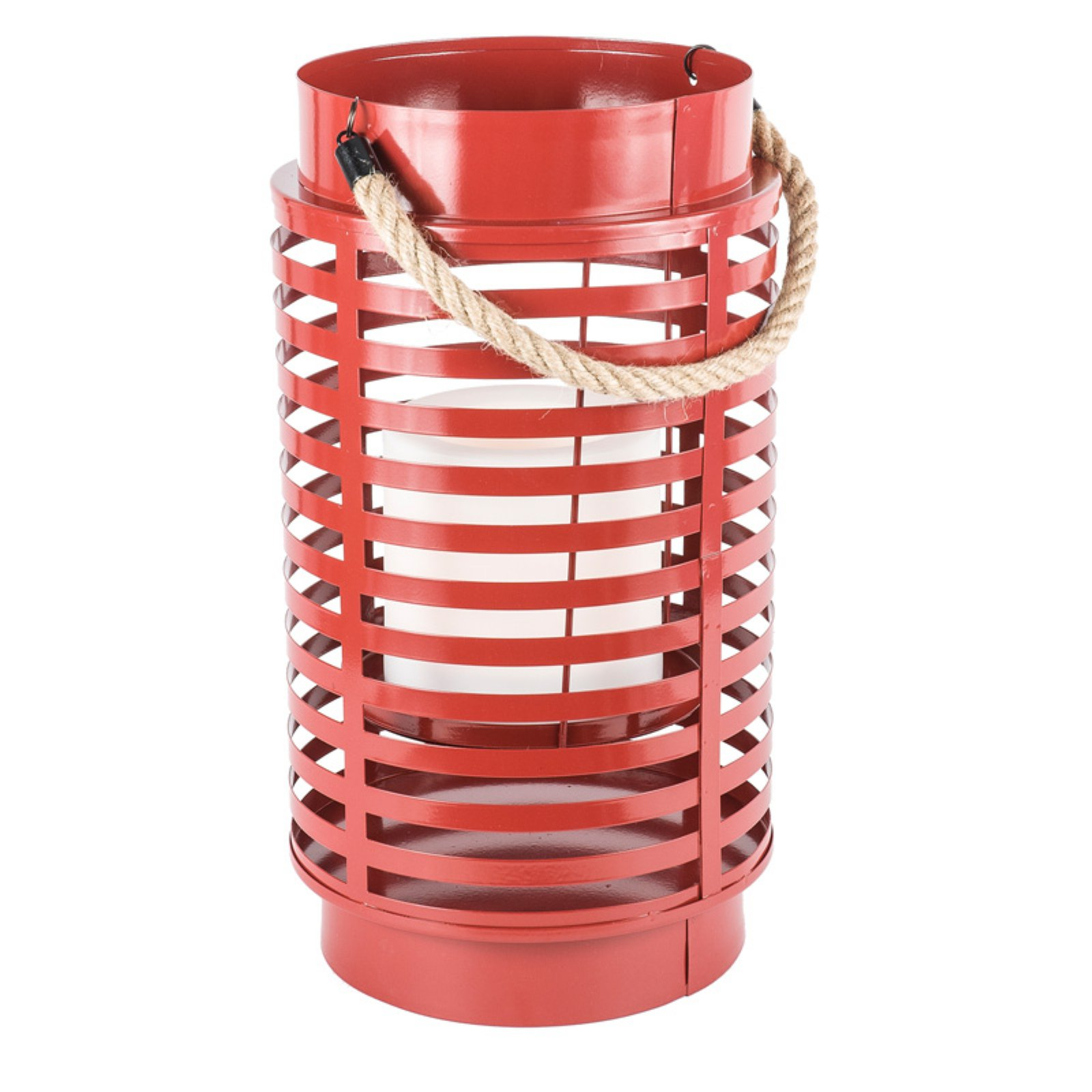 Paradise Garden Lighting Red Metal Lantern with Rope Handle