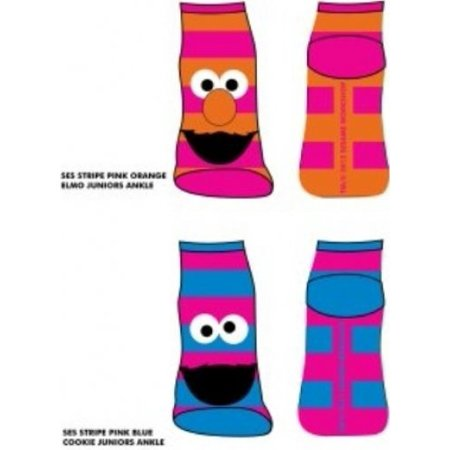 Sesame Street Elmo & Cookie Monster Ankle Sock PPK of TWO Striped Logo (Elmo And Cookie Monster Halloween Costumes)