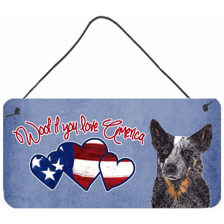 Woof if you love America Australian Cattle Dog Wall or Door Hanging Prints