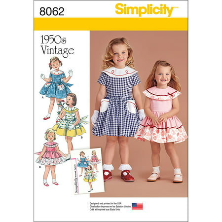 Simplicity Toddlers' & Childs' Size 4-8 Vintage 1950s Dress Pattern, 1 Each