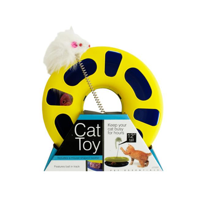 Click here to buy Bulk Buys OD386-4 Ball Track Cat Toy With Mouse Swatter.