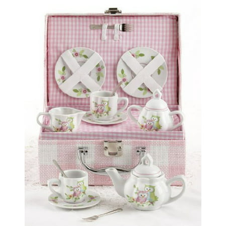 Delton Products Owls Children's Tea Set with (Service Basket)