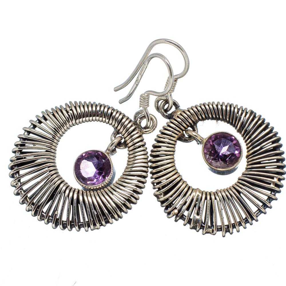 "Ana Silver Co Faceted Amethyst 925 Sterling Silver Earrings 1 1/2"" - Handmade Jewelry EARR340407"