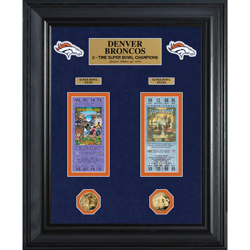 NFL - Denver Broncos Super Bowl Ticket and Game Coin Collection Framed