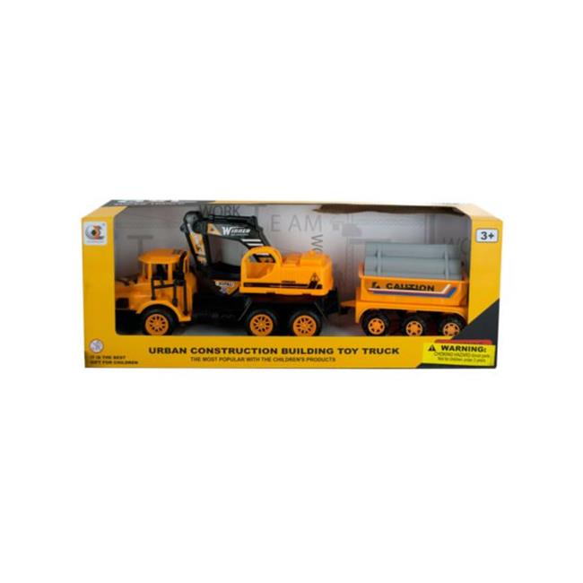 Kole Imports KL247-16 12.5 x 2.75 in. Friction Powered Excavator Trailer Truck, 16 Piece - image 1 of 1