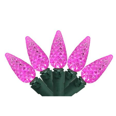 Set of 70 Pink LED C6 Christmas Lights