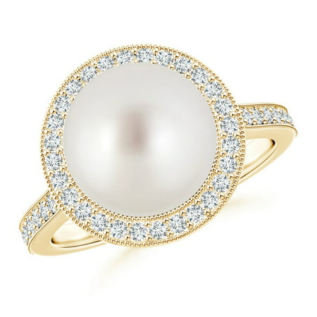Angara Victorian Style South Sea Cultured Pearl and Diamond Ring 8PDX4c