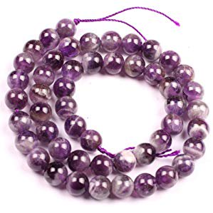 8mm Seed Beads - 8mm round natural amethyst gemstone beads strand 15