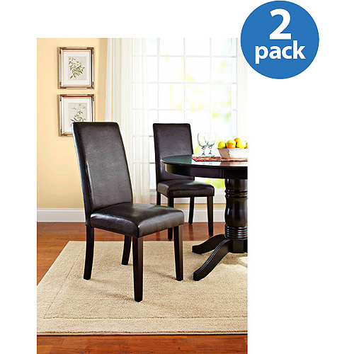 Better Homes and Gardens Faux Leather Parsons Chair, Set of 2, Espresso