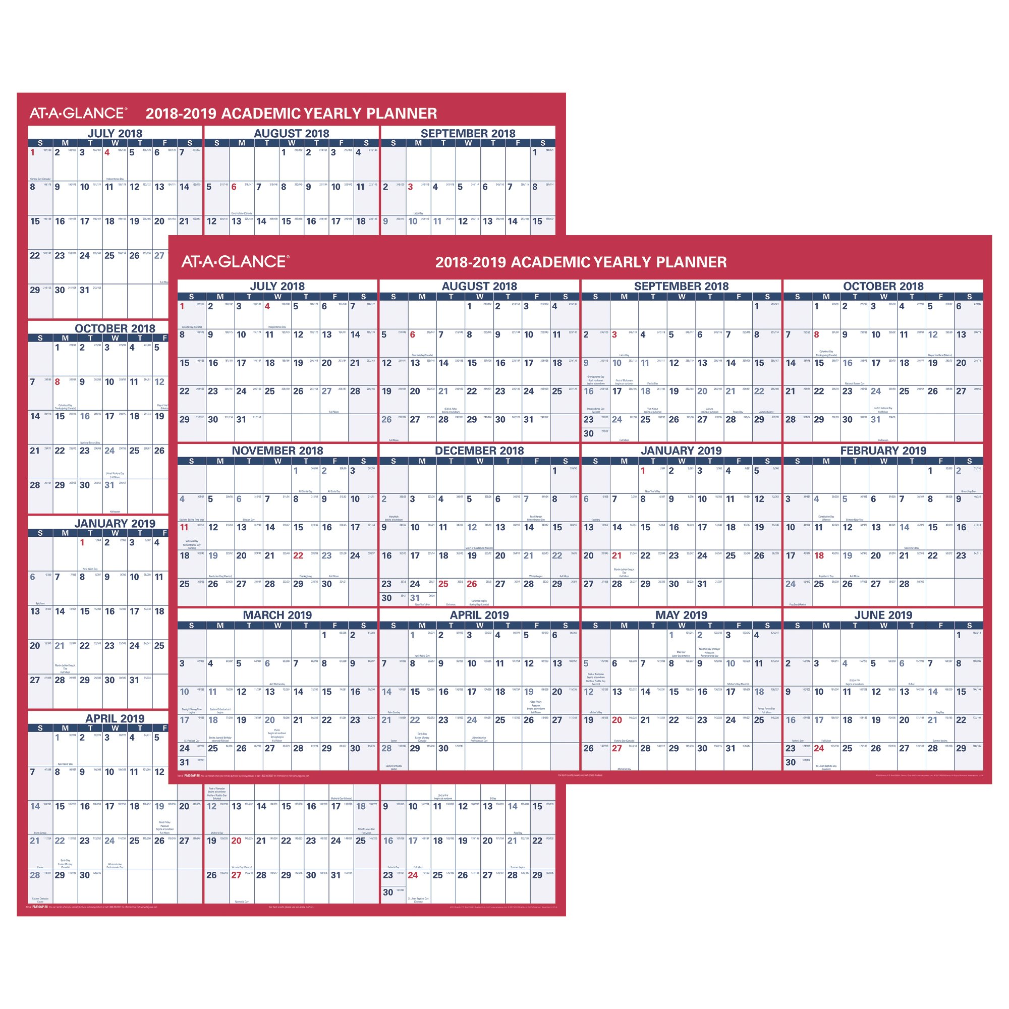 At-A-Glance XL 2-Sided Academic Erasable Wall Calendar - Yearly Wall Calendars