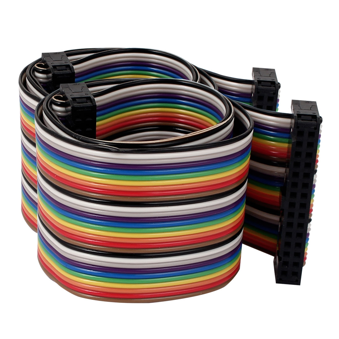 50cm 30 Pin 30 Way F/F Connector IDC Flat Rainbow Color Ribbon Cable 2pcs