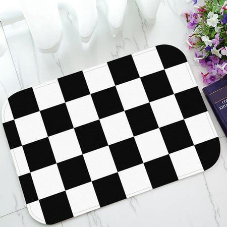 ZKGK Black White Checkered Pattern Non-Slip Doormat Indoor/Outdoor/Bathroom Doormat 23.6 x 15.7 (Pattern Door)