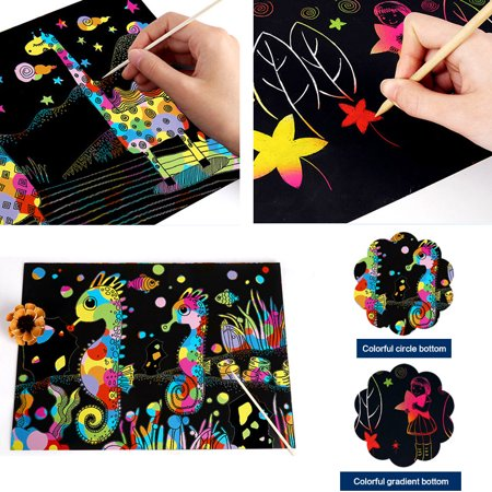 Chainplus Scratch Art Set for Kids, 10PCS Rainbow Magic Scratch Paper for Kids Black Scratch Art Crafts for Birthday Party Game - image 6 of 8