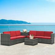 Gymax 8PCS Patio Rattan Sofa Sectional Conversation Furniture Set w/ Red Cushion