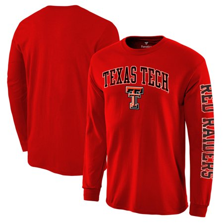 Texas Tech Colors - Texas Tech Red Raiders Fanatics Branded Distressed Arch Over Logo Long Sleeve Hit T-Shirt - Red