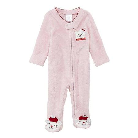 Infant Girls Plush Pink Baby's 1st Christmas Holiday Teddy Bear Sleeper 0-3m - Teddy Bear Girl