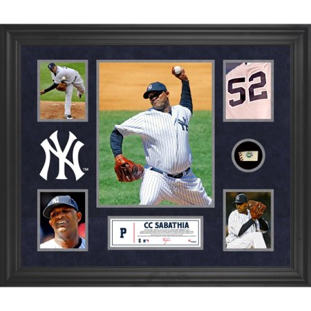 (CC Sabathia New York Yankees Framed 5-Photo Collage with Piece of Game-Used Ball)