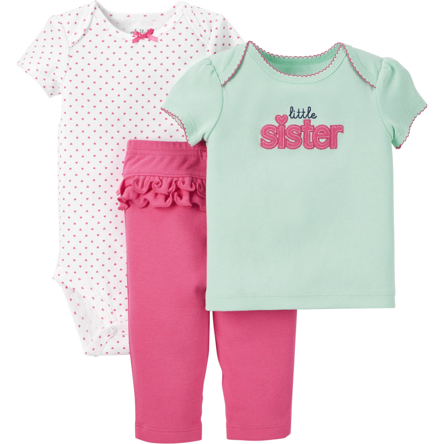 Child of Mine made by Carter's Newborn Baby Girl T Shirt, Bodysuit and Pant Outfit Set 3 Pieces