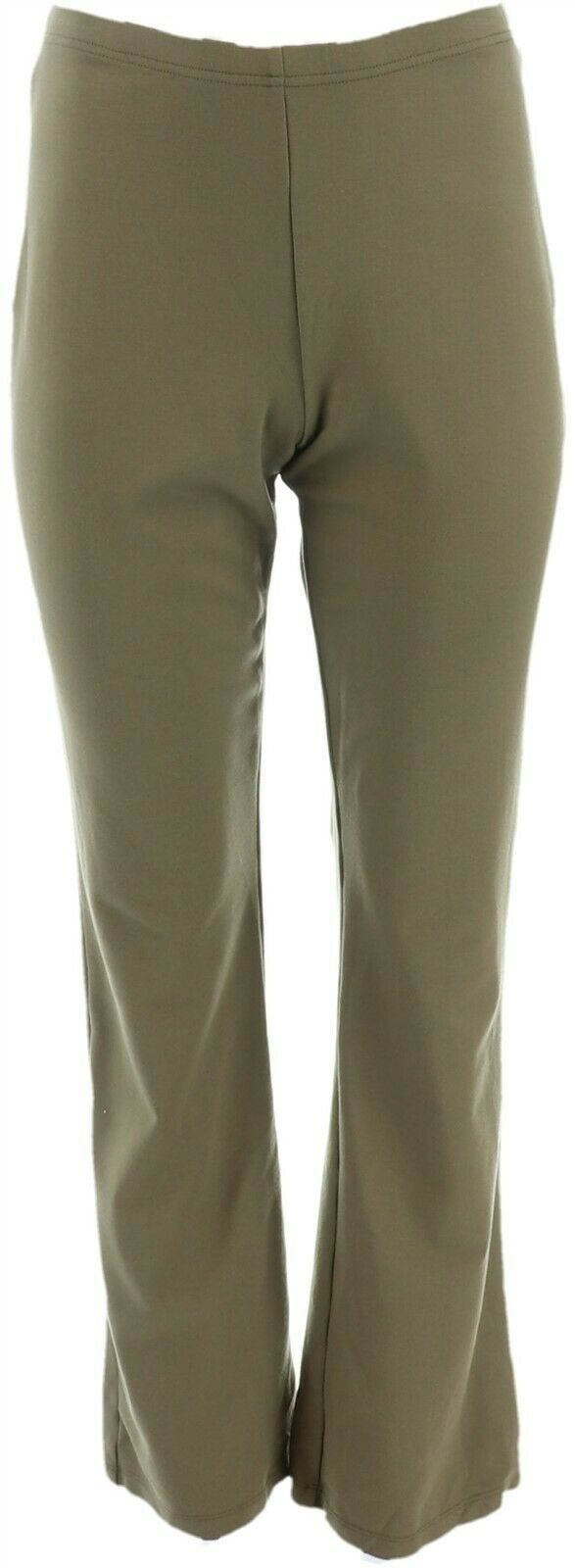 Women with Control Tummy Control Pull-On Printed Pants Olive XL NEW A298539