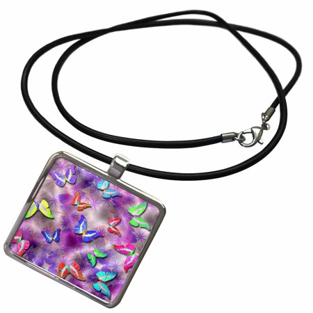 3dRose Cosmic Dust Sparkles and Butterflies - Necklace with Pendant (ncl_63064_1) - Pixie Dust Necklace