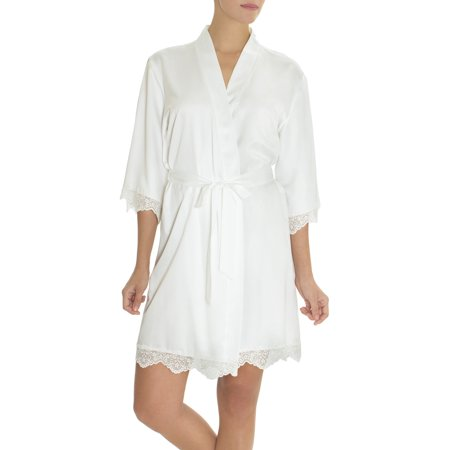 (Women's and Women's Plus Bridal Satin Wrap Robe)