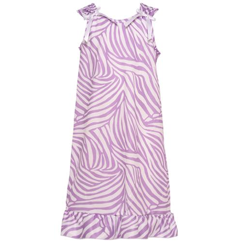Little Girls Lilac Zebra Stripe Pattern Bows Attached Ruffle Nightgown 2T-6X