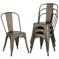 Topeakmart Set of 4 Classic Iron Metal Dinning Chair Indoor-Outdoor Use Chic Dining Bistro Cafe Side Barstool Bar Chair Coffee Chair