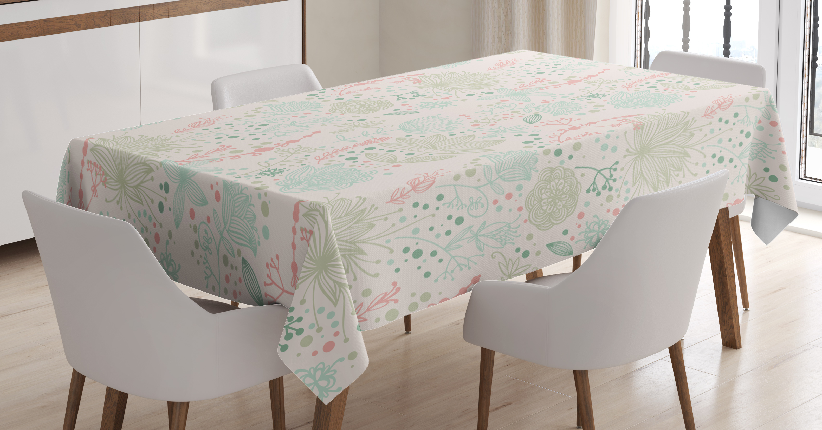 Floral Tablecloth, Vintage Soft Floral With Dotted Background Nature  Inspiration Image, Rectangular Table Cover