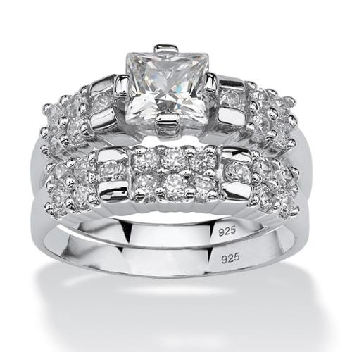 PalmBeach 2.06 TCW Princess-Cut Cubic Zirconia Platinum over Sterling Silver Bridal Engagement Ring Set Classic CZ Size 5