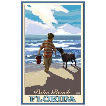 Palm Beach Florida Boy Dog East Giclee Art Print Poster by Joanne Kollman (12