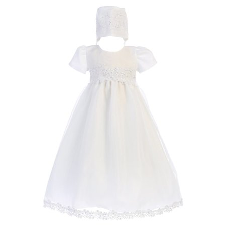 Baby Girls White Sequin Trim Organza Gown Bonnet Christening Set