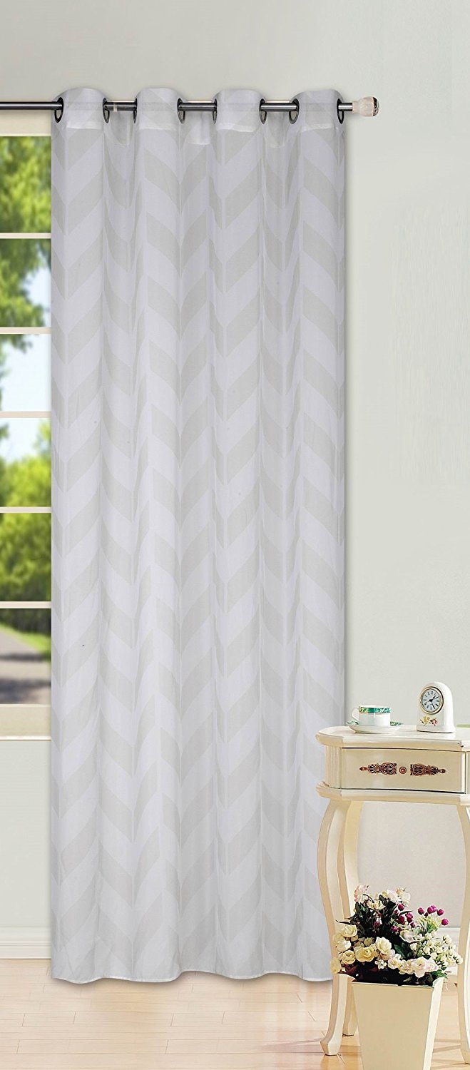 GorgeousHomeLinen (S37) 1 Chevron Pattern Design Voile Sheer Two-Tone Window Treatment Curtain Drape Panel 8 Silver... by