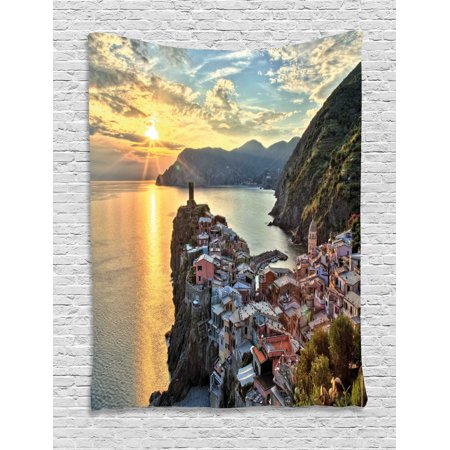 Vernazza Tapestry, Amazing Sunrise Photo of Small Mediterranean Coastal Village on Cliffs in Italy, Wall Hanging for Bedroom Living Room Dorm Decor, Multicolor, by Ambesonne ()