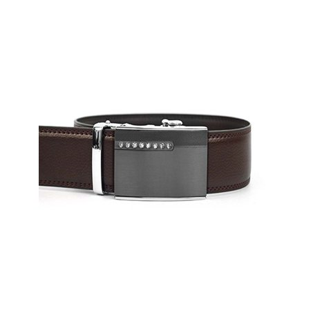 Men?s Leather Ratchet Belt with Jeweled Gunmetal Automatic Buckle (MGLBB37) (Jeweled Belt)