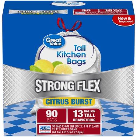 Citrus 20 Bag (Great Value Strong Flex Tall Kitchen Drawstring Trash Bags, Citrus Burst, 13 Gallon, 90)